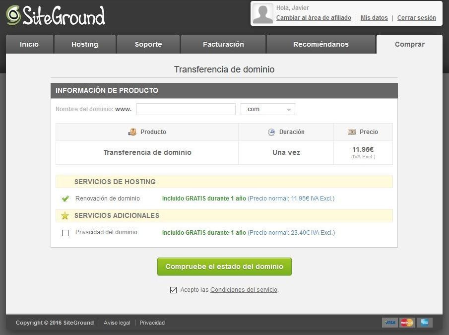 Cómo transferir un dominio a Siteground