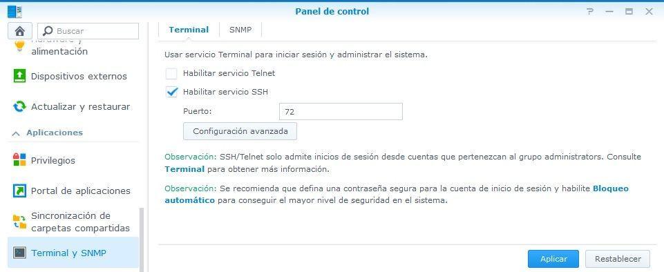 Synology Activar Acceso Remoto por SSH 01