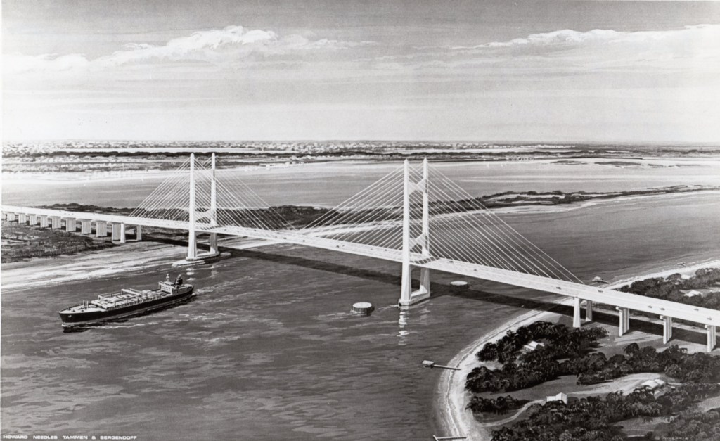 Dames Point Bridge (Napoleon Bonaparte Broward Brdige). Copy furnished by JTA, 1985 from a drawing by builders designers.