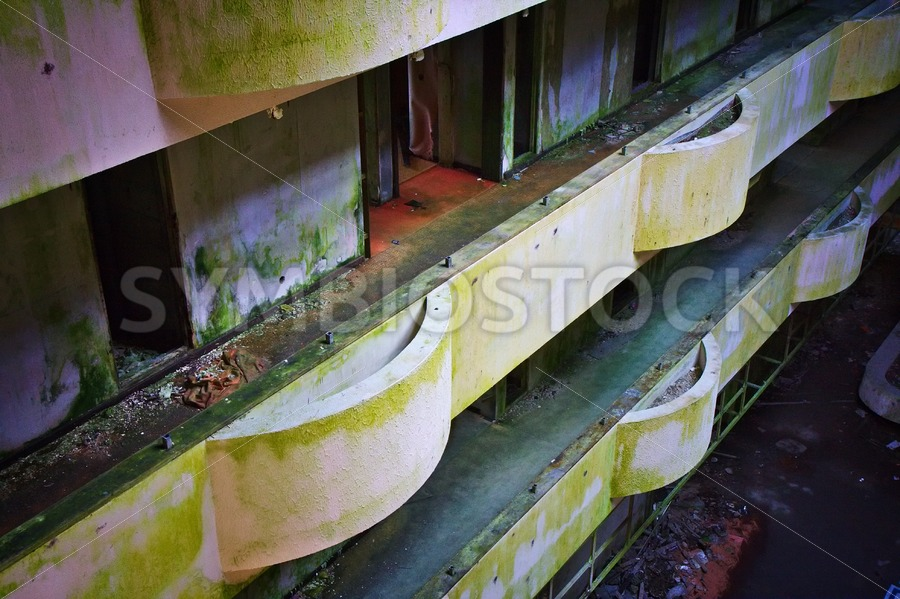 Balcony rooms Abandoned Hotel - Jan Brons Stock Images