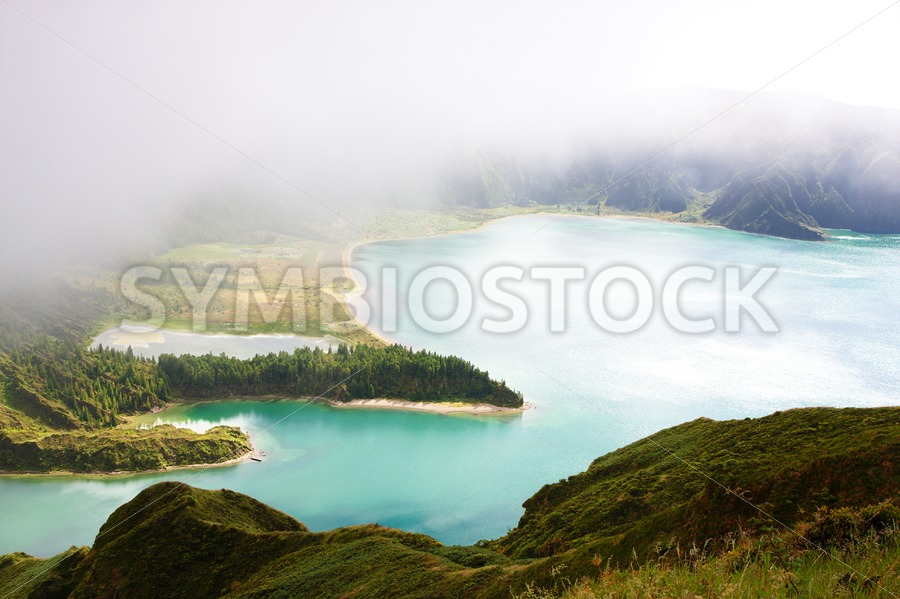 Cloudy Lagoa do Fogo - Jan Brons Stock Images