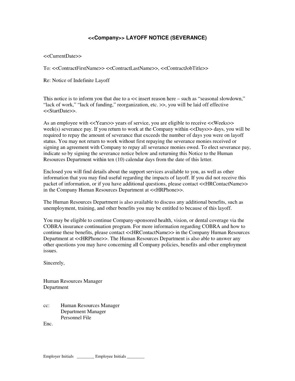 severance letter templates