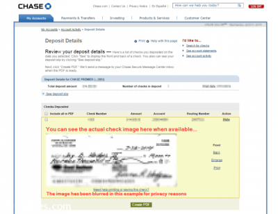 Show a deposited check image on Chase.com [SOLVED]