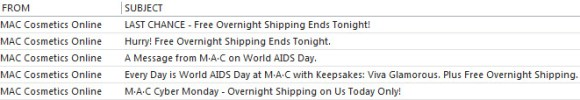MAC Cyber Monday Subject Lines
