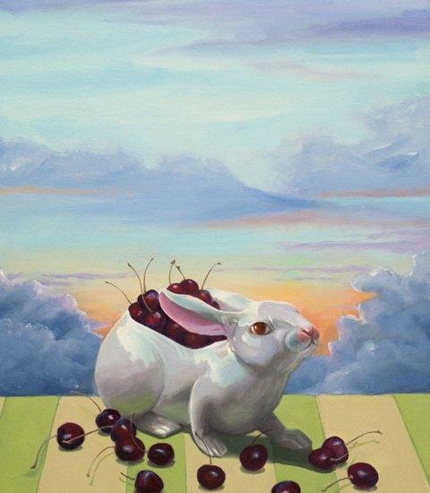 White Rabbit with Cherries, oil on linen, 16x12 in, (c) Jean Reece Wilkey