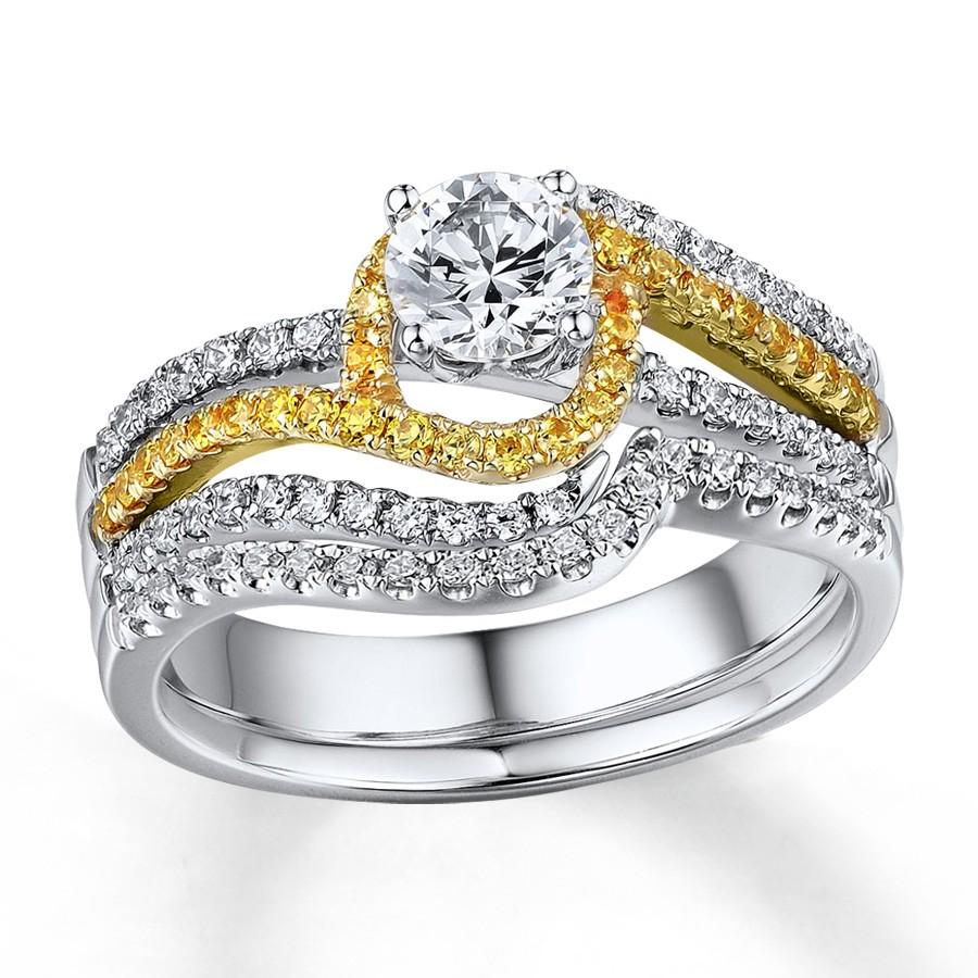 1 carat beautiful white and yellow diamond wedding ring set beautiful wedding bands 1 Carat Beautiful White and Yellow Diamond Wedding Ring Set