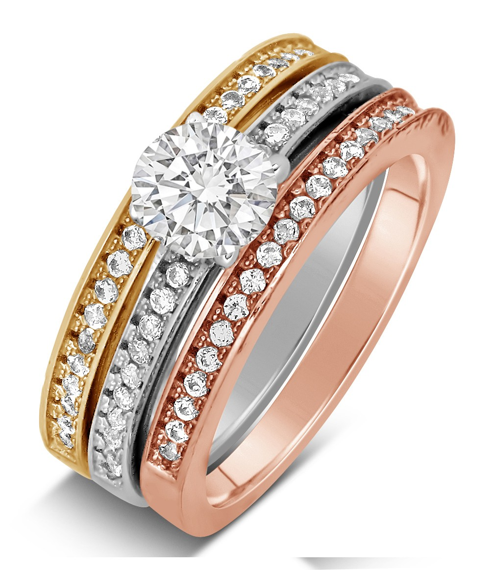 ancucutthbac trio wedding ring set Angita s Cushion Cut CZ Wedding Ring Trio Set
