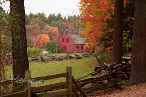 fall color surrounding Sturbridge village farm