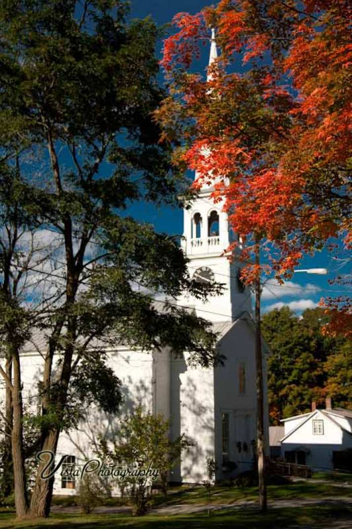 Church in Peacham Vermont with fall color