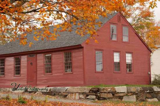 Danville Vermont building with fall foliage