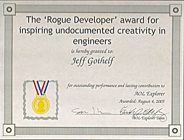 "The award I got for ""inspiring"" off-spec feature development"
