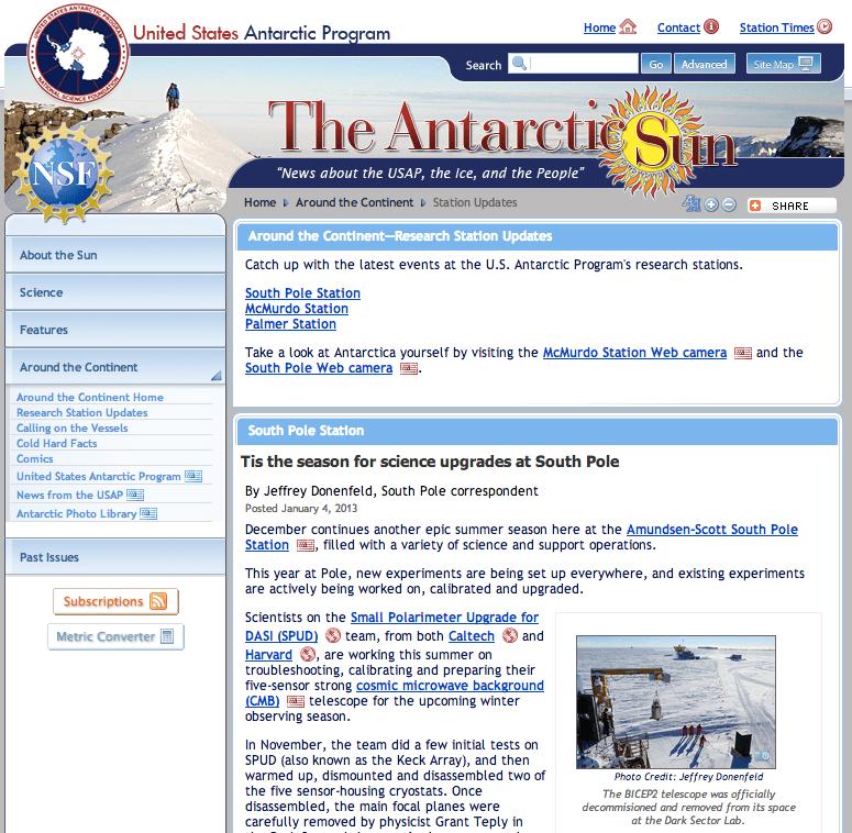Antarctic Sun December 2012 Station News