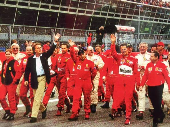 Nina Jerancic with Luca di Montezemolo, Michael Schumacher and Jean Todt