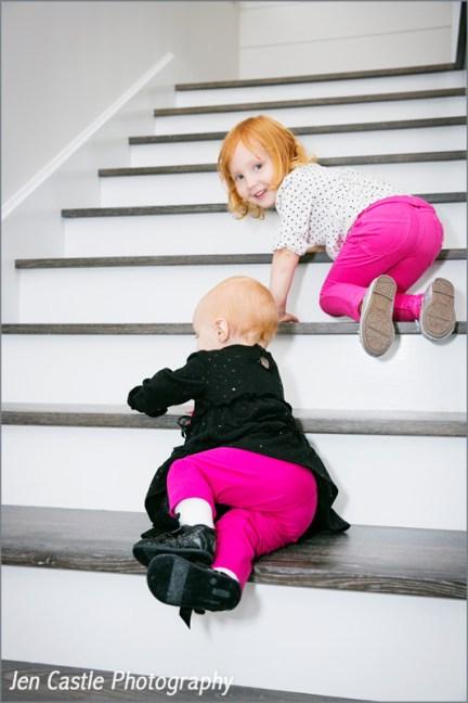 babies, family portraits, ©Jen Castle Photography, sistersManhattan Beach, new house, hot pink pants!