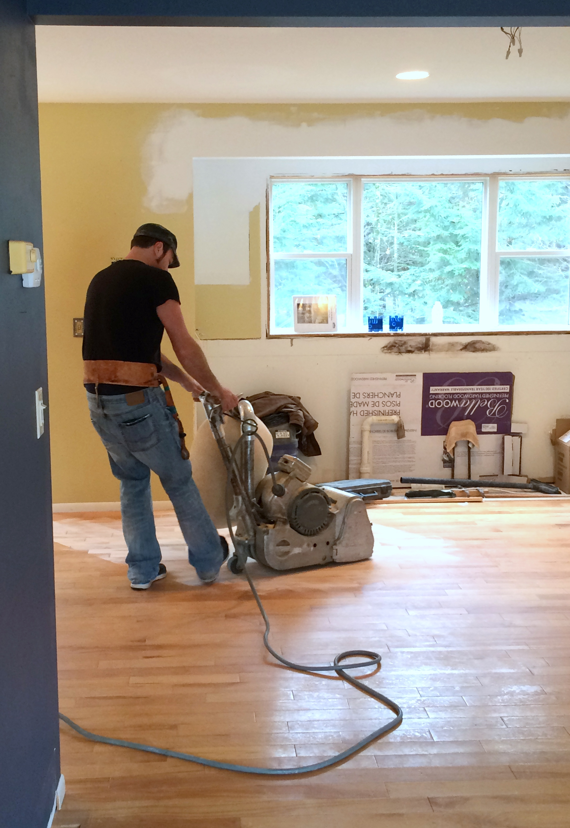 kitchen progress staining hardwood floors wood floor in kitchen Kitchen Renovation Patch Repair and Stain the Hardwood Floors