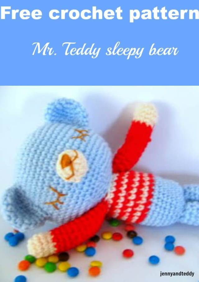 mr. teddy sleepy bear crochet amigurumi free pattern by jennyandteddy