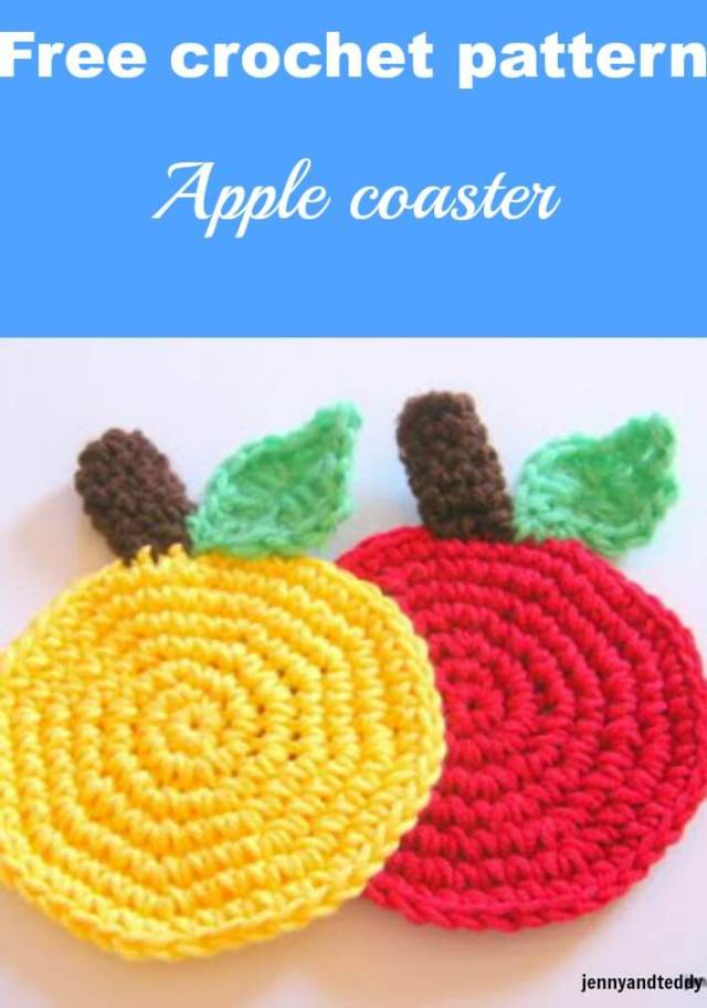 apple crochet coaster free pattern by jennyandteddy