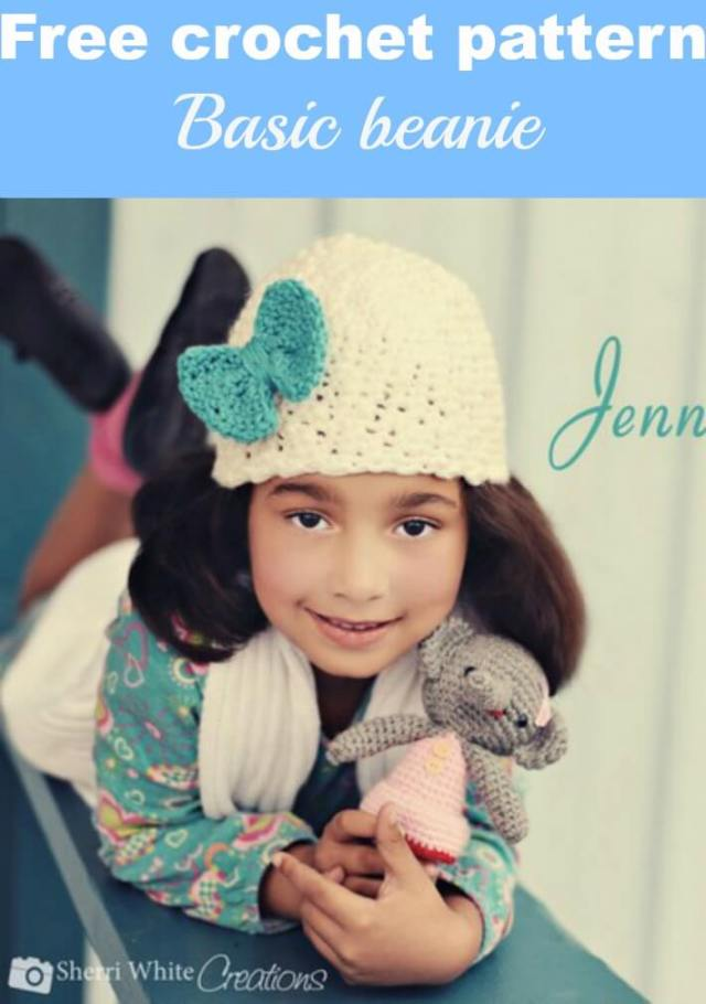 basic beanie with bow free crochet pattern by jennyandteddy