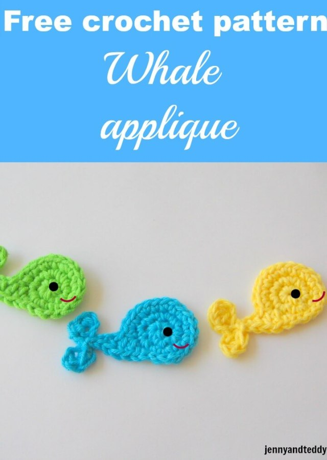 free crochet pattern whale applique by jennyandteddy