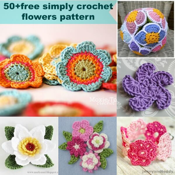 50 Free Crochet Flowers Pattern