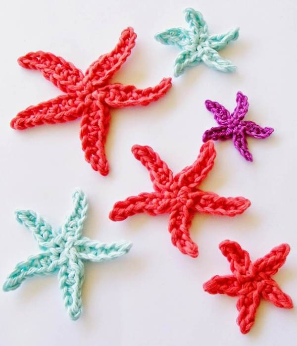 17.starfish crochet applique cute free pattern