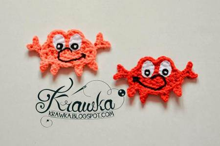 8.easy crochet crab tutorial applique free pattern