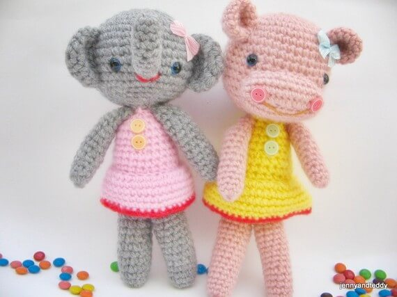 free amigurumi beginner pattern elephant and hippo