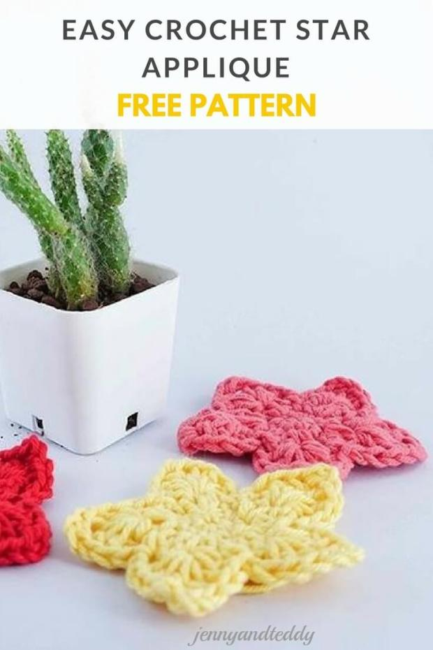 EASY CROCHET STAR APPLIQUE FREE PATTERN