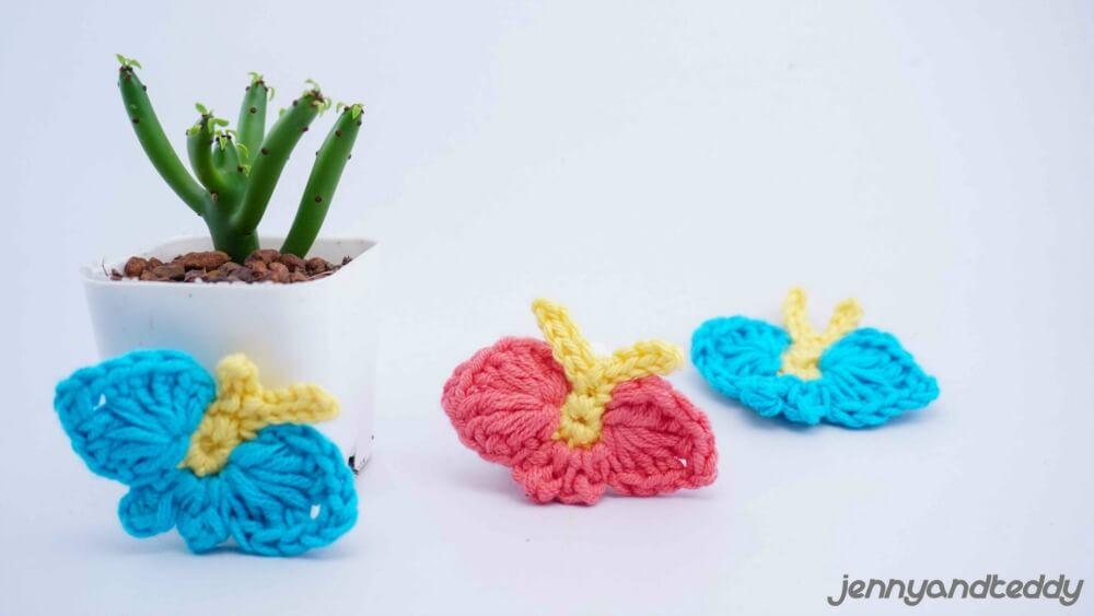 Easy Crochet Butterfly applique Free Pattern