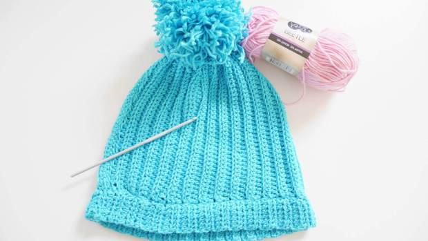 easy ribbed crochet beanie hat free crochet pattern