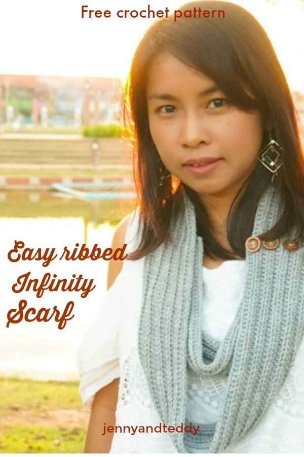 free crochet pattern easy ribbed infinity scarf for beginner
