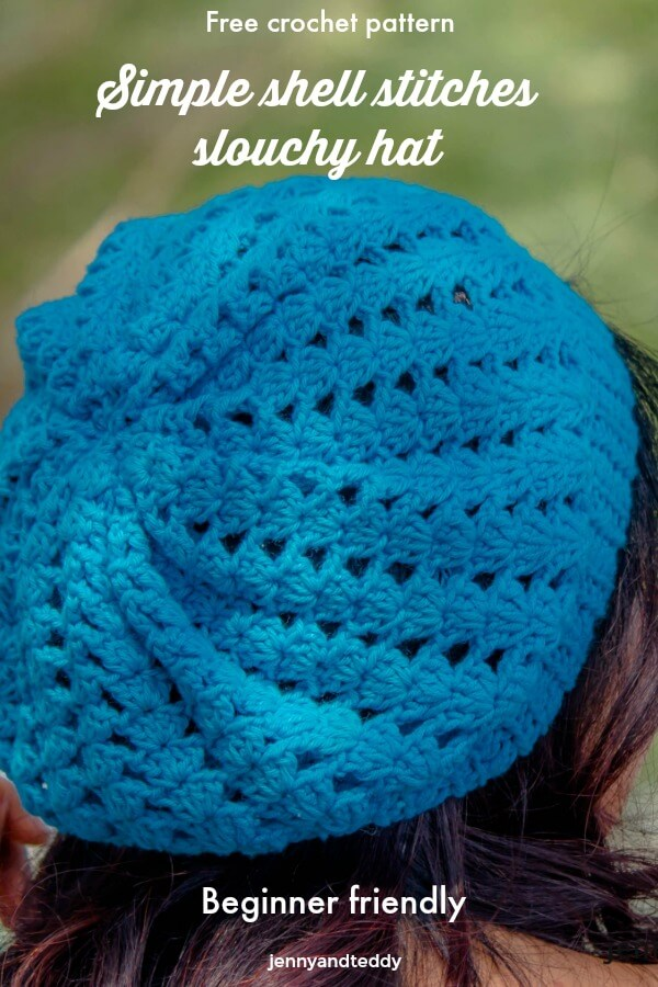 free crochet pattern simple easy shell stitches souchy hat for beginner tutorial by jennyandteddy