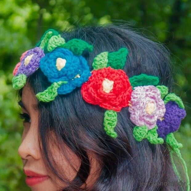 Flower crown free crochet pattern