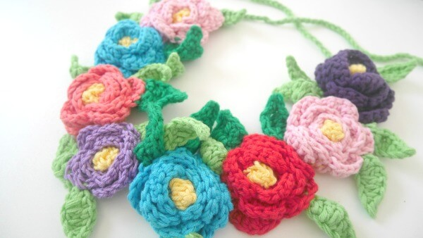 how to crochet flower crown tutorial