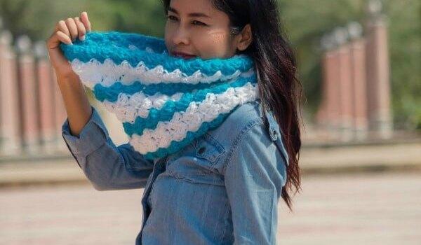 Free and easy crochet pattern the ocean weave cowl for beginner