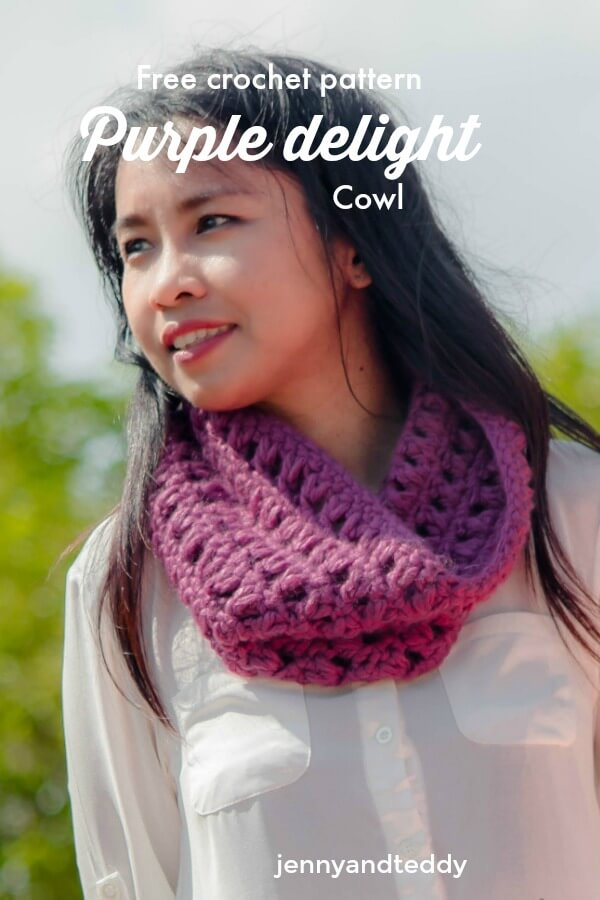 free crochet quick cowl pattern purple delight
