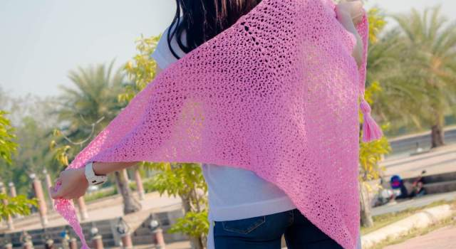 basic crochet easy triangle scarf shawl free pattern2