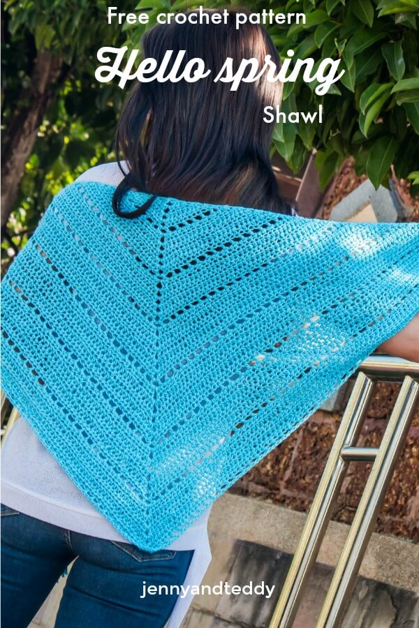 hello spring shawl crochet triangle scarf free pattern beginner friendly5
