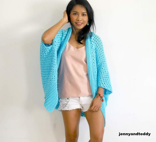 Blue lagoon crochet easy cardigan free pattern beginner friendly by jennyandteddy