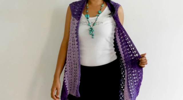 light weight crochet vest double v stitch easy tutorial free pattern
