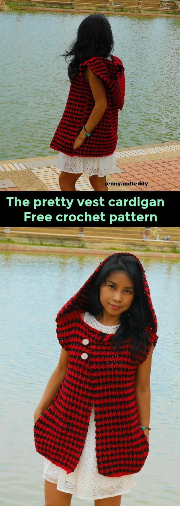 easy crochet hooded vest cardigan free crochet pattern by jennyandteddy