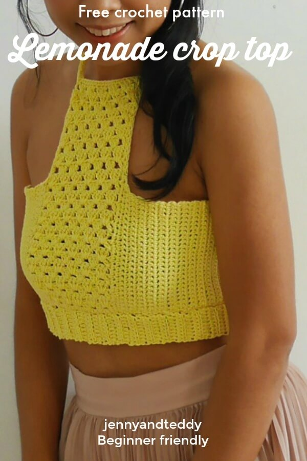 lemonade crop top free crochet pattern tutorail easy by jennyandteddy