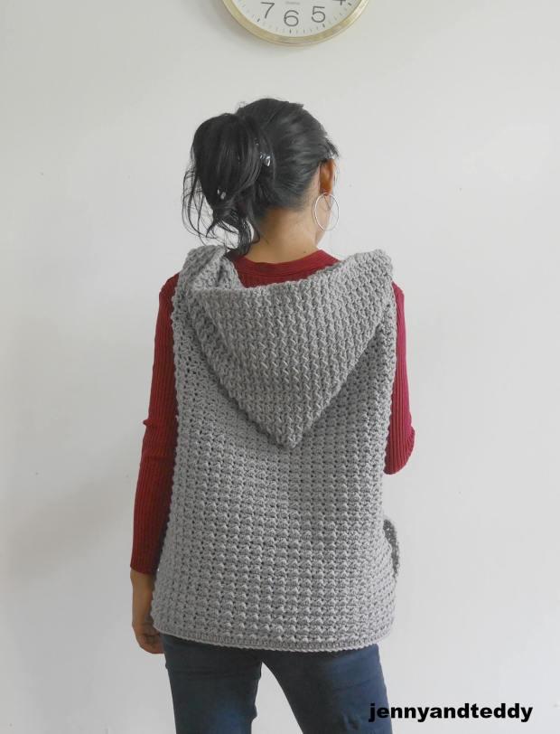 crochet hooded jacket with zipper