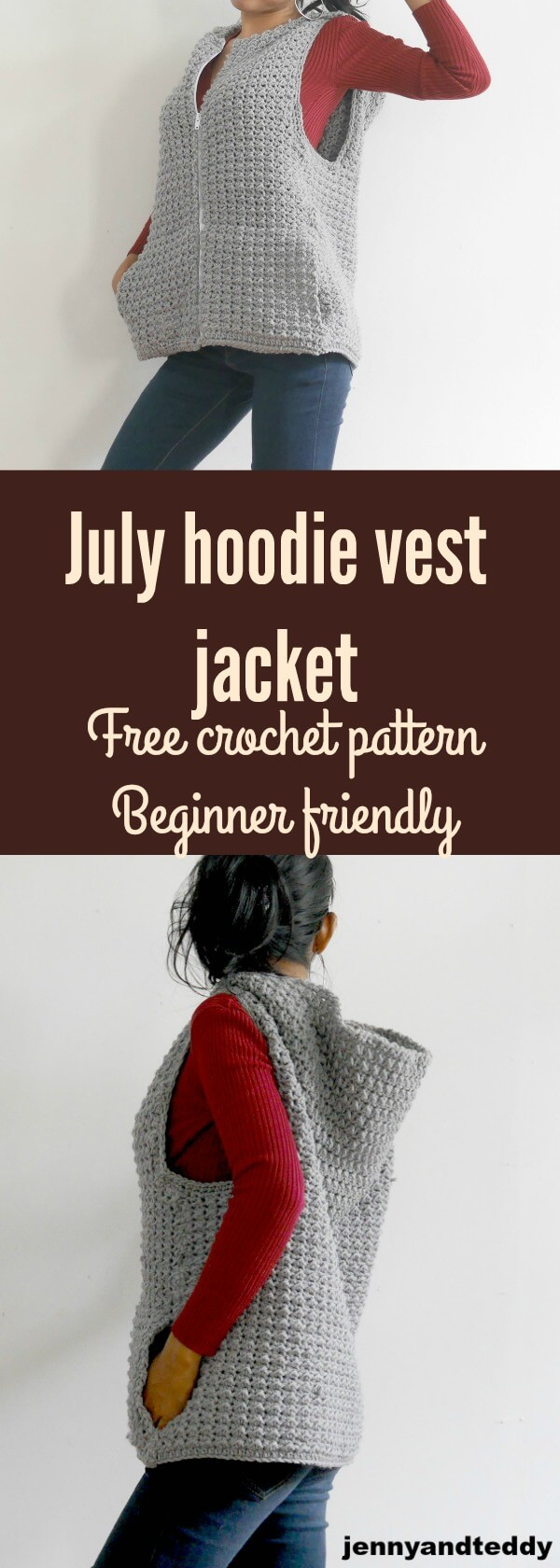 july hooded hoodie vest jacket easy for beginner friendly with zipper by jennyandteddy
