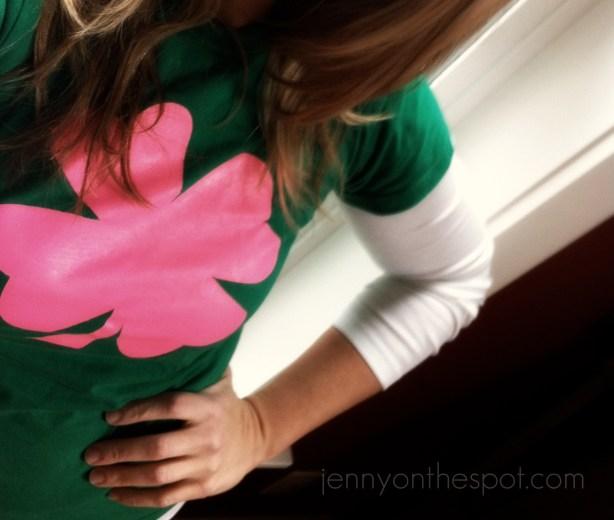 green shirt, pink clover
