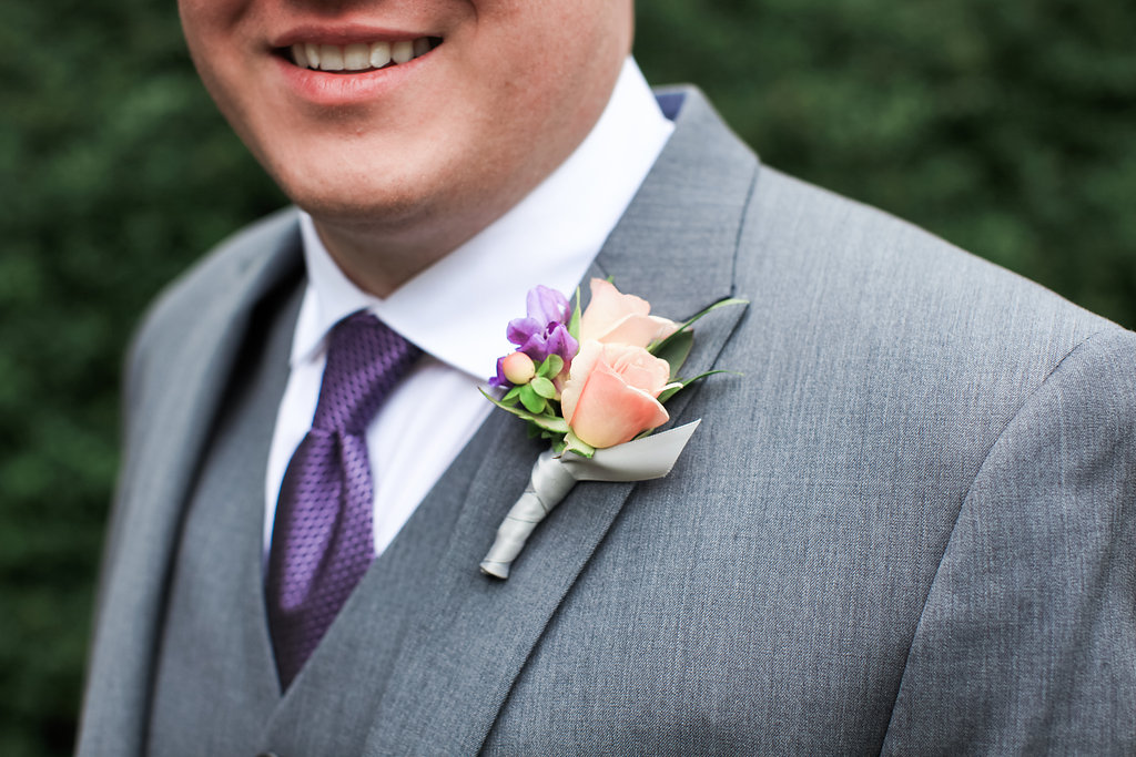 Coral Boutonniere || flowers by Jen's Blossoms || photo by Kate Price Photography