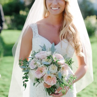 Bride with Garden Rose Bouquet at Roche Harbor Resort