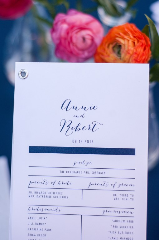 Union Station Tacoma Wedding || Photo: Genesa Richards Photography ||Program by For the Love of Press