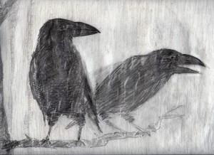 Huginn (gedachte) och Muninn (geheugen)  in de regen afwachtend