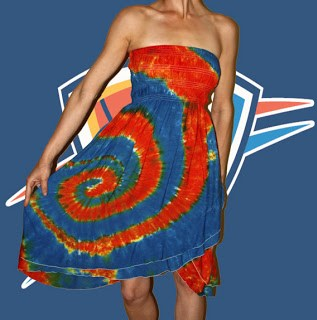 Tie Dye Thunder Dress in orange and blue